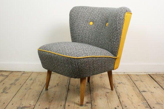 Cocktail chair reupholstered 1950's vintage by VintageVitrineShop