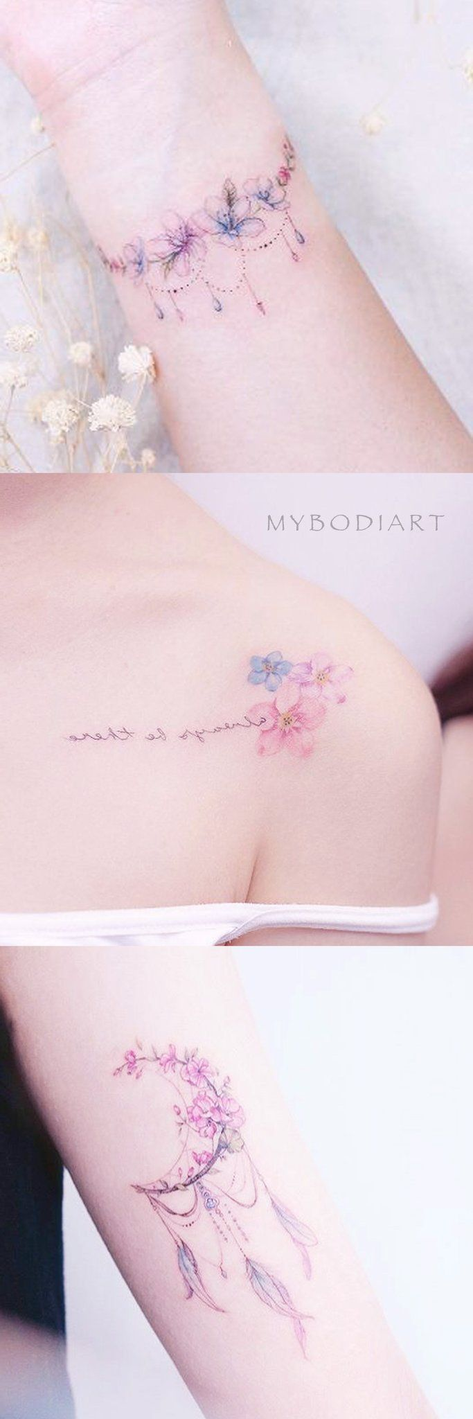 Süße Girly Aquarell Floral Flower Schulter Handgelenk Tattoo-Ideen für Frauen – Ide …
