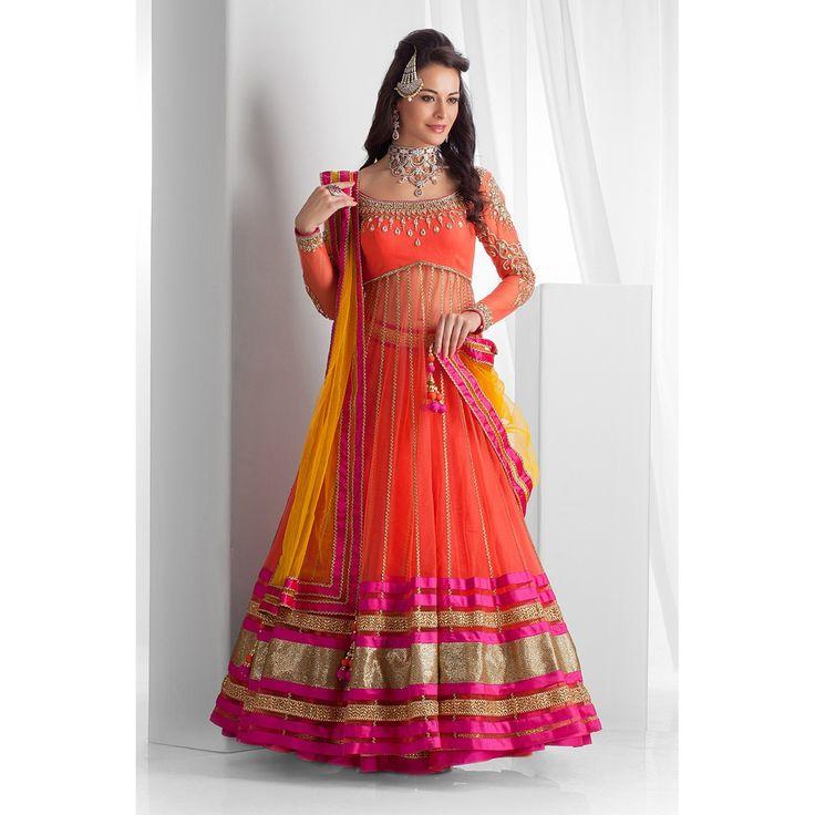 Net+Lace+Work+Orange+Semi+Stitched+Lehenga+-+966 at Rs 1399