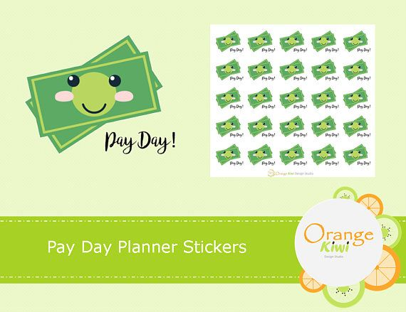 Pay Day Planner Stickers, Kawaii Stickers