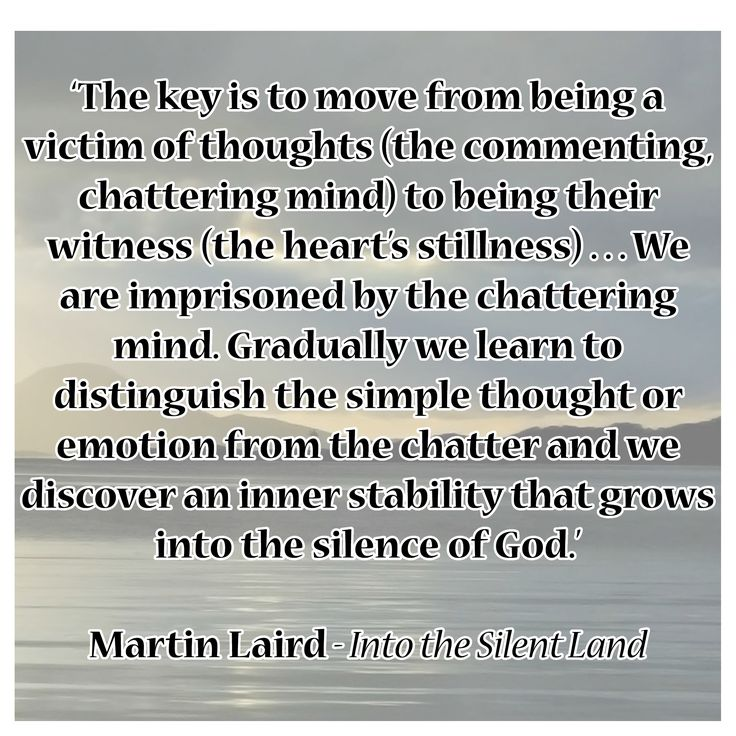 'The key is to move from being a victim of thoughts (the commenting, chattering mind) to being their witness (the heart's stillness) . . . We are imprisoned by the chattering mind. Gradually we learn to distinguish the simple thought or emotion from the chatter and we discover an inner stability that grows into the silence of God.'  Martin Laird - Into the Silent Land