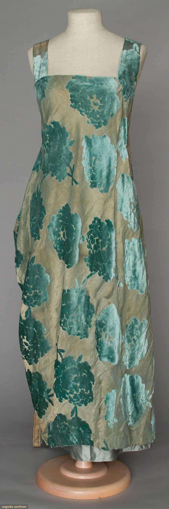 Evening gown (front) | 1920s | Aqua velvet peony blossoms cut to gold lamé, wide shoulder straps & back train