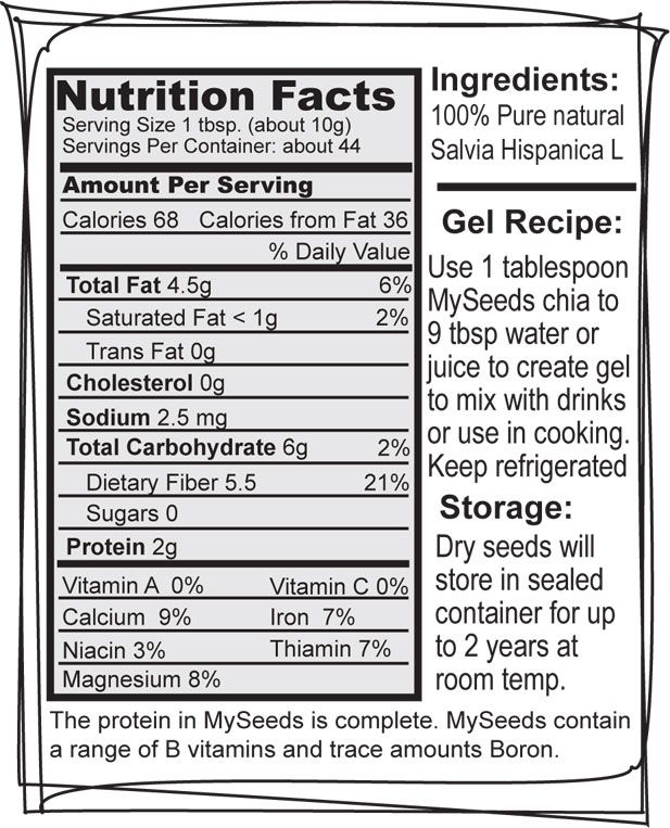 Chia Seed Nutrition Facts Label Get more nutrition tips at nutrition101.kyani.net