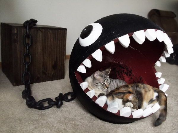 Cat bed modeled after Super Mario's Chain Chomp Monster