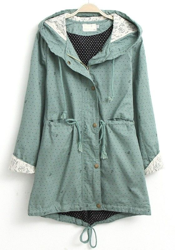 Blue Polka Dot Lace Cotton Blend Trench Coat