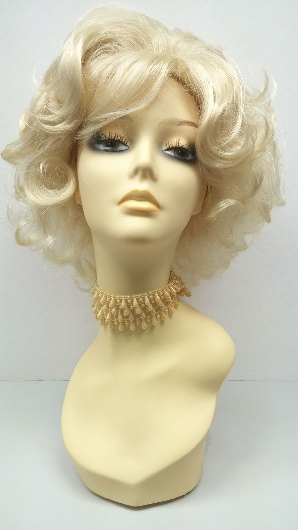 Big Blonde Sixties Style Wig Short Curly Wig Retro Vintage Housewife Wig Sex Kitten Wig By