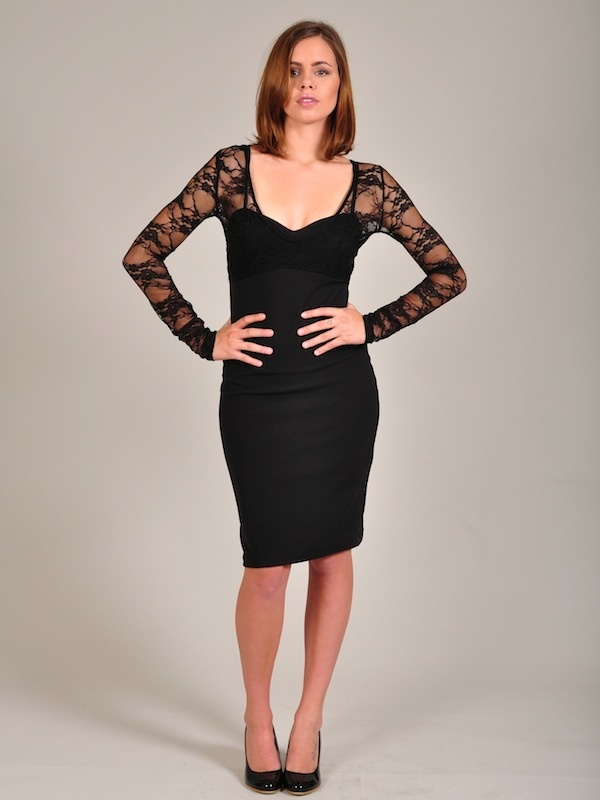 Diligo black isabella lace pencil dress | www.diligo.co.za