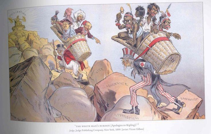 """Charge faz apologia ao poema de Kipling mostrando um americano e um britânico carregando seus respectivos fardos. A retórica hipócrita dos colonizadores justificava o imperialismo como uma necessidade de levar a """"civilização"""" aos lugares """"atrasados"""" e não a busca e exploração dos recursos naturais. O poeta britânico Rudyard Kipling, favorável ao imperialismo, publicou seu poema The white man's burden, """"O Fardo do Homem Branco"""", 1899. O poema traduzia esta mentalidade do final do século XIX."""