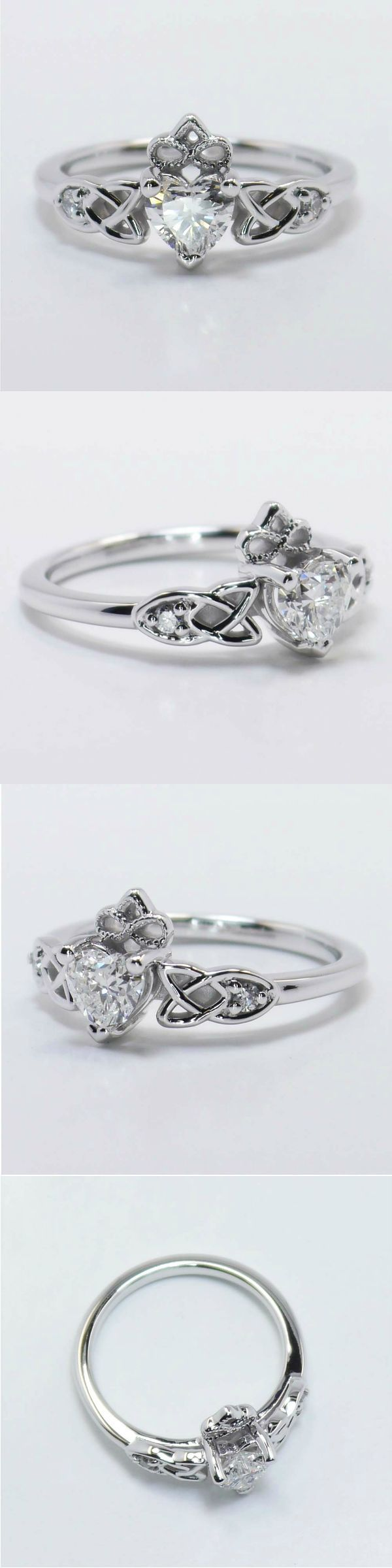 Celtic Claddagh Ring in White Gold Heart 0.54 Ctw. Color: F Clarity: SI1 Diamond/Gem Cost: $720 Celtic themes are increasingly popular for engagement and wedding jewelry. Metal: White Gold Side Shape: Round Side Carat: 0.06 Side Color: F-G Side Clarity: SI1 Setting Cost: $975 www.brilliance.com
