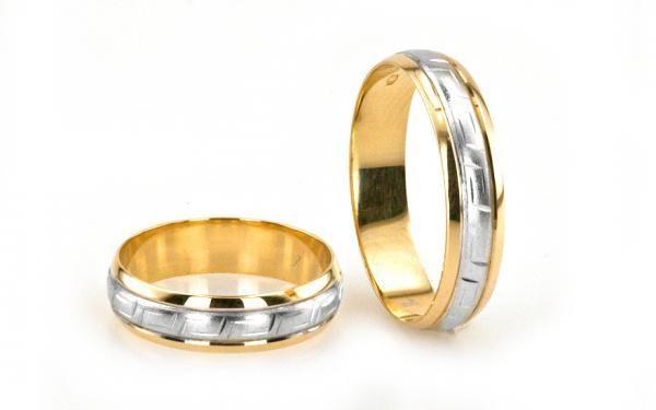 Obrúčky dvojfarebné s antickým gravírom 14 karátové zlato
