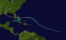 Hurricane Andrew in 1992. The path of a hurricane that starts in the open Atlantic Ocean and tracks northwestward. It curves westward while between Puerto Rico and Bermuda, eventually crossing The Bahamas and Florida. In the Gulf of Mexico, the track re-curves into Louisiana and stops over eastern Tennessee.
