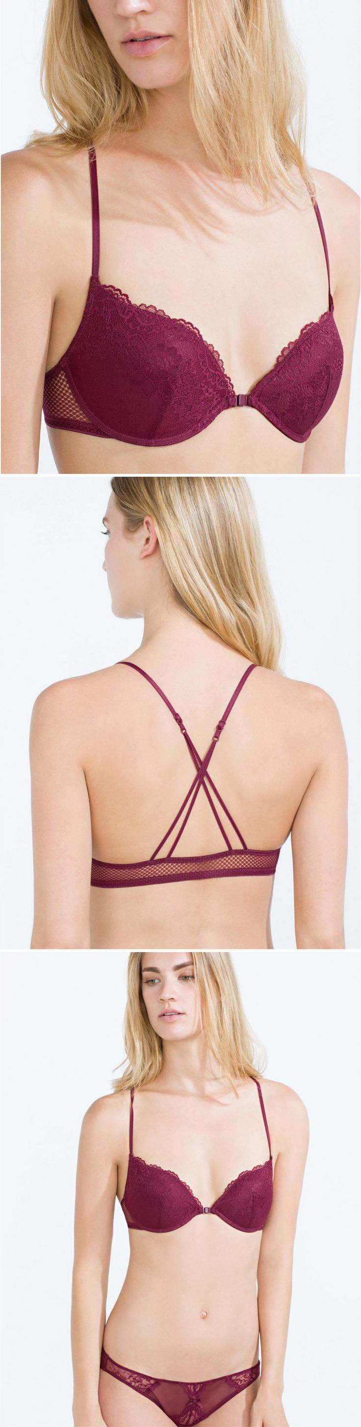 Burgundy sensual lace push up bra with criss cross back