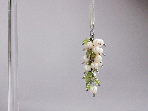 Perlovo - olivínový náhrdelník ~ Ag 925 ~