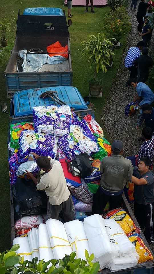 Loading the truck for our first of many drop offs.  #GVI #NepalEarthquake