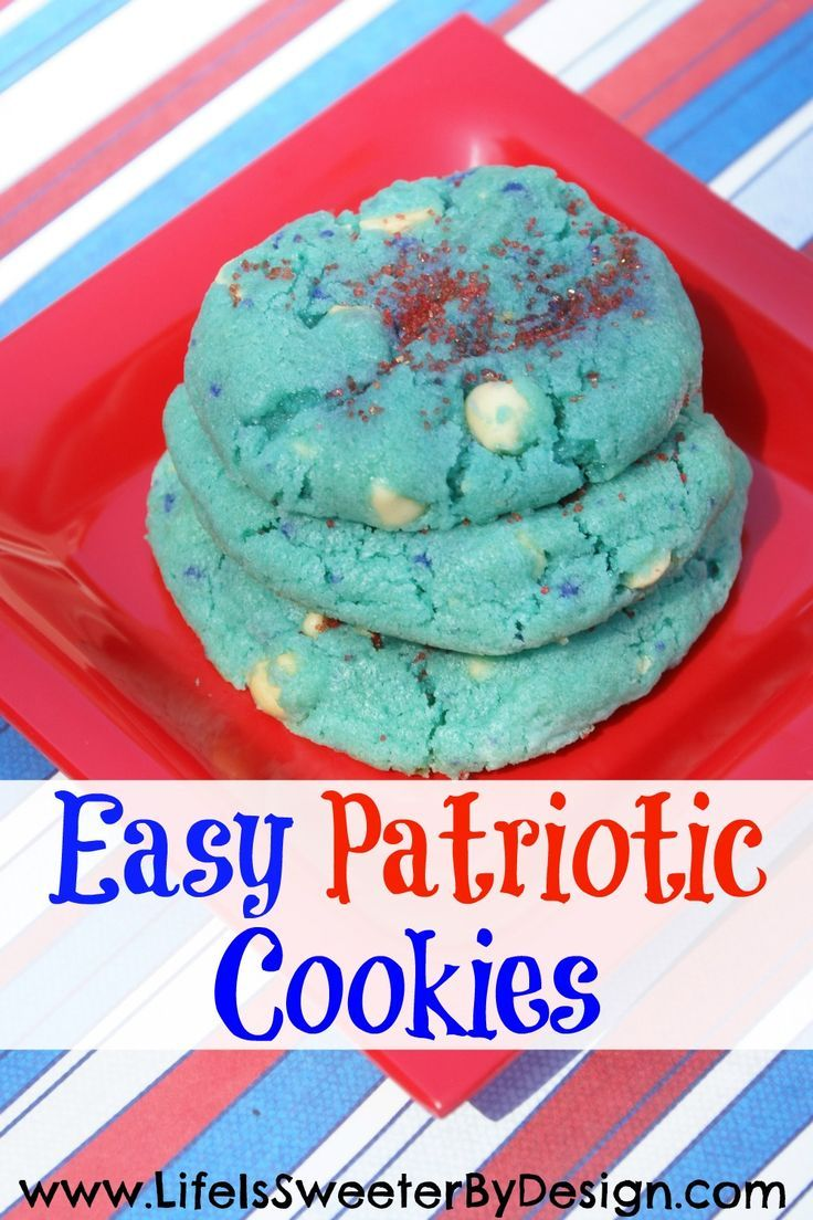 These patriotic cookies and fun to eat and EASY to make! Red, white and blue cookies are great for Memorial Day or 4th of July parties!