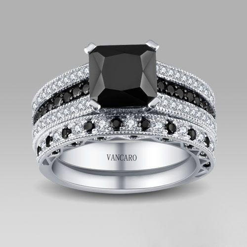 17 Best Images About Black Wedding Ring Sets On Pinterest