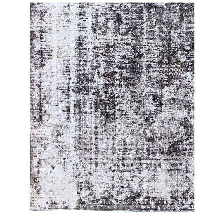 Distressed Vintage Persian Rug with Modern Medallion Design in Shades of Gray | From a unique collection of antique and modern persian rugs at https://www.1stdibs.com/furniture/rugs-carpets/persian-rugs/
