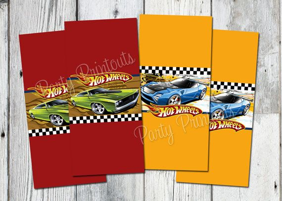 Hot Wheels Mini Candy Bar Wrappers, Printable, Car Birthday Party Favors, Other Printables, invitation Available on Etsy, $6.99