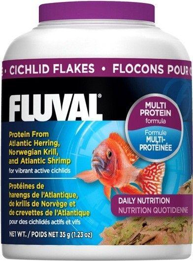 Alimento en Escamas Ciclidos FLUVAL - #FaunAnimal El Alimento para Cíclidos Fluval proporciona una excelente fuente diaria de proteínas, oligoelementos y antioxidantes a partir de varios ingredientes clave, como el Arenque del Atlántico, Krill de Noruega, Camarones del Atlántico y Mejillones Verdes