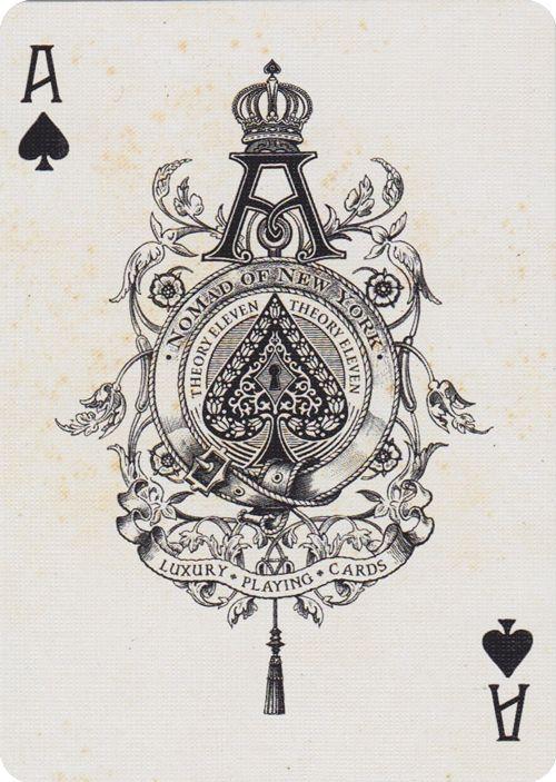 NoMad Playing Cards. Uma ideia de nipe bastante ornamentada, digna do A de espadas.