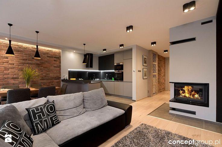 Dom w Rudzie Śląskiej - Realizacja - Duży salon z kuchnią z jadalnią, styl nowoczesny - zdjęcie od Conceptgroup
