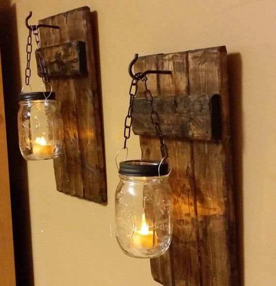 Hanging Candle Holders, Rustic Decor, Fixture Candle Holders, Mason Jar Decor, Mason Jar Candle, Country Decor, Candles