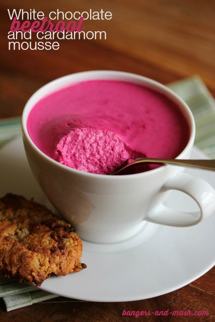 white chocolate beetroot cardamom mousse - replace white chocolate with dark chocolate.