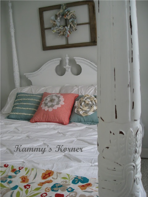 Four Poster Bed: Cherry Finish Meets Shabby Chic   ATTENTION:  You are about to witness the cheapest Master Bedroom Makeover in Blogging History.  The only major expense you see in this picture?  The $72 Duvet Cover!