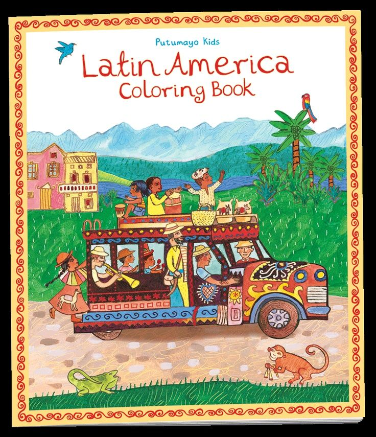Twenty oversized coloring pages invite children to discover the people, animals and musical instruments of Latin America. Captions, a map and a glossary help budding artists identify the images as they color and learn about Latin American culture.    Drawing captions  Glossary of African animals and instruments  Colorable map of Latin America  Printed with eco-friendly soy ink