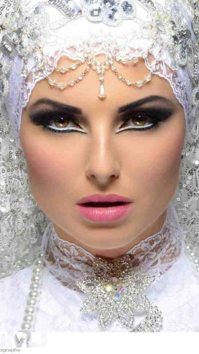 Arabic makeup. Truly, it's kind of packed on and overdone.  Nobody should walk around like this except a Vegas showgirl!