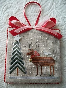 Reindeer Tree Finished Cross-Stitch Christmas Ornament by The Drawn Thread
