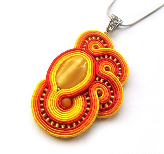 Statement Soutache pendant FIRE yellow red orange by SaboDesign, $74.00