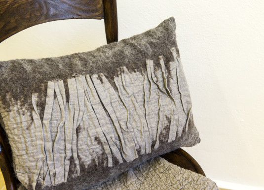 Hand felted cushion | Sheep wool, linen fabric | Created by Katerina Korshun