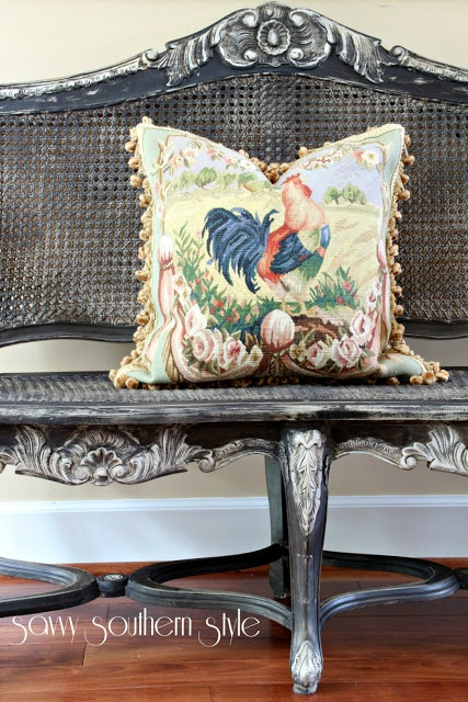 Have to find a place for a bench with overstuffed down cushion on it.. love tapestry pillows (not rooster though)