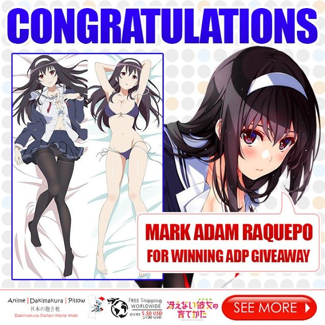 The Saekano & Love Live! Dakimakura Giveaway winner you've been waiting for is here!   Congratulations Mark Adam Raquepo for winning an Utaha Kasumigaoka Dakimakura! Please message us at support@animedakimakurapillow.com for further details on how to claim your prize.  As a gratitude for your support on our giveaway, we are giving a 10% discount code to all of our participants! Enter discount code: ADP-VIP10  SHOP NOW: www.AnimeDakimakuraPillow.com