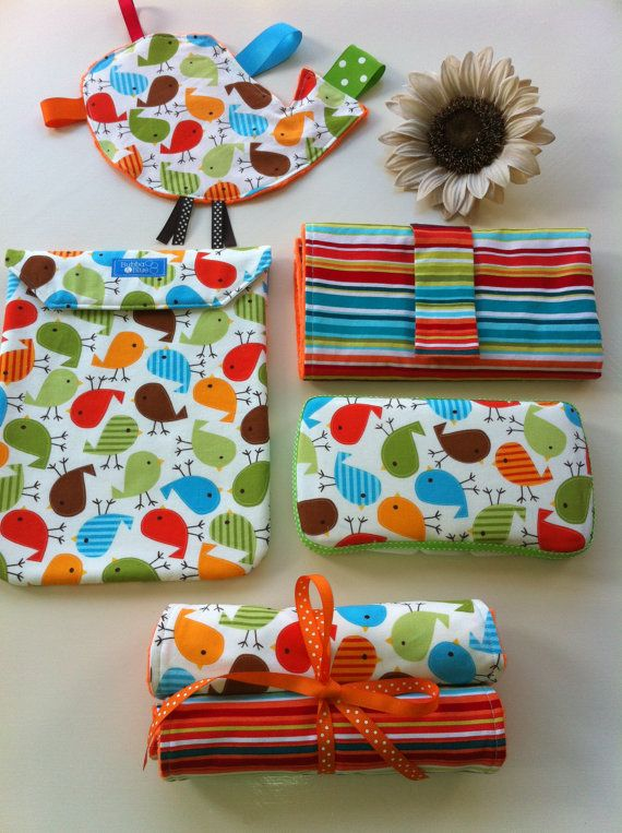 Large Change Set- Change pad, wipe case, diaper pouch, 2 burp cloths and a crinkle toy