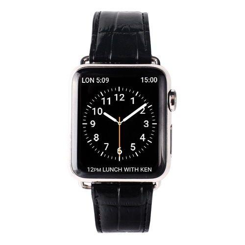 Gaze Natural Leather Apple Watch Band Color Croco Black Fashion Watch 38mm #Gaze