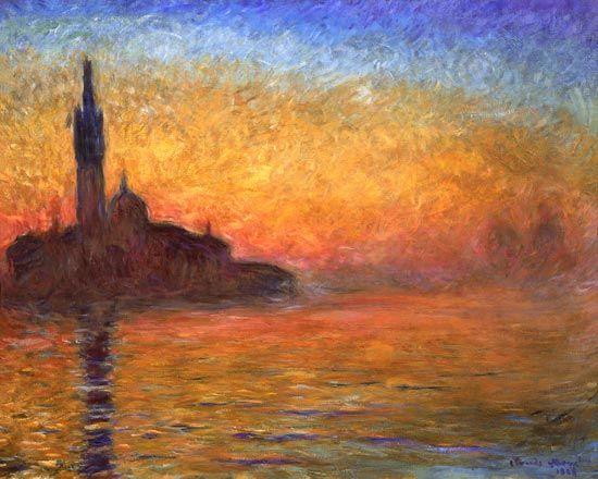 Claude Monet-Bei Sonnenuntergang in Venedig