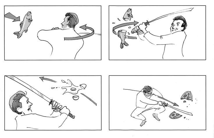 Madmagasinet Bitz og Frisk From storyboard for trailer. Pencil and digital grey. Client: Danmarks Radio. Storyboard: Comoll