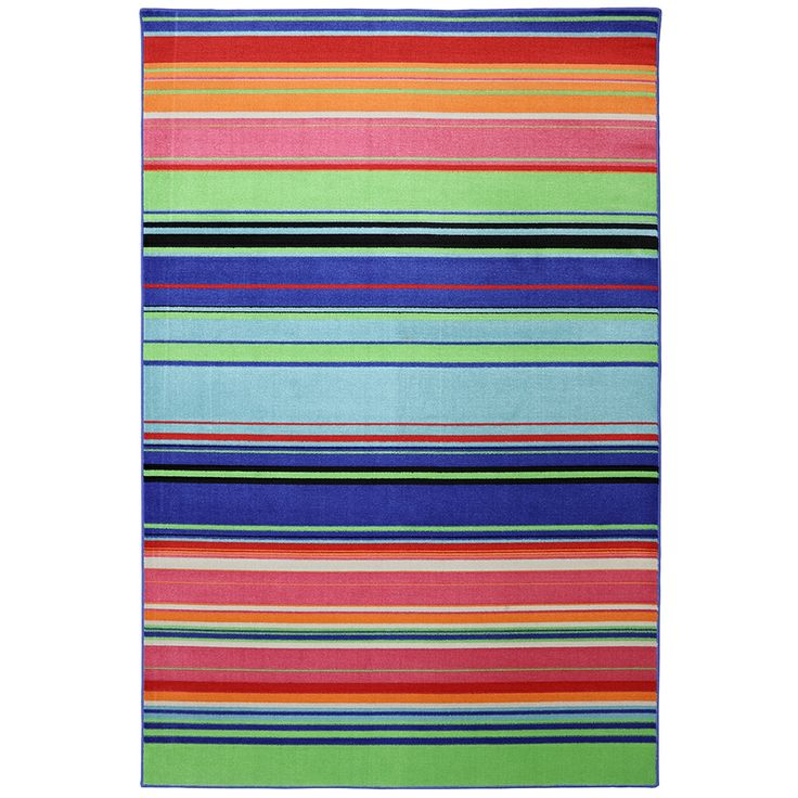 Indoor Outdoor Bright Stripes Multi Rug 8 X 10 By