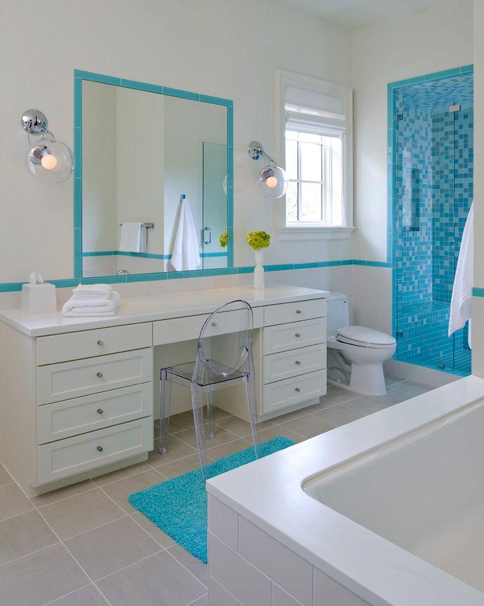 Contemporary modern twist for children's bathroom design in white, teal blue with Louis XVI Ghost Chair for a Italian Mediterranean Villa in Dallas, TX