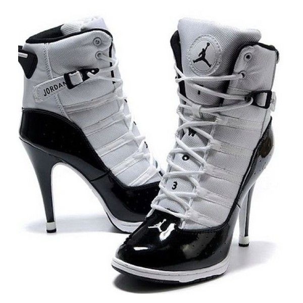 Nike 2013 New Women Air Jordan High Heels Shoes White Black ❤ liked on Polyvore featuring shoes, white and black shoes, black and white shoes, black and white high heel shoes, high heel shoes and nike footwear