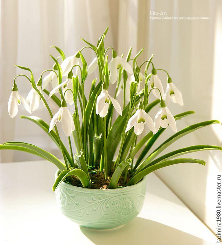 Polymer clay flowers, handmade. Купить Букетик подснежников. Холодный фарфор - белый, подснежники, Холодный фарфор, ручная работа, цветы