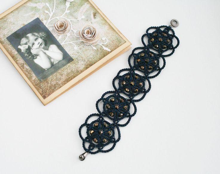 Темно-синий шнурок браслет Полночь голубой браслет от LacedMood