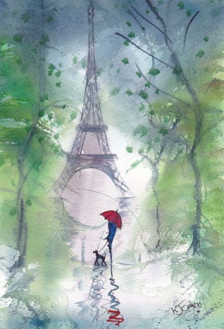 Rainy Day Paris~Windy Morning This artist paints lovely pictures of rain and red umbrellas