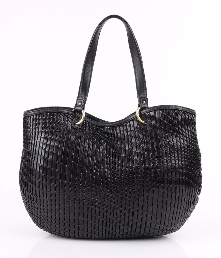 """COLE HAAN """"Genevieve"""" Black Open Weave Leather Extra Large Tote Bag Purse #ColeHaan #TotesShoppers"""