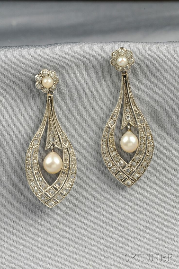 Vintage pearl drop gold earrings bocheron pearl earrings gold - White Gold Cultured Pearl And Diamond Ear Pendants Each Designed As A Cultured Pearl And Diamond Florette Suspending A Drop Lg