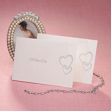 Enkelt foldet bryllup invitasjon med sikringsanlegg hjerter (sett av 50) – NOK kr. 265