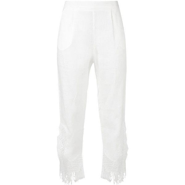 Ermanno Scervino Tassel Hem Beach Trousers (21,120 INR) ❤ liked on Polyvore featuring pants, white beach pants, linen blend pants, beach pants, white pants and beach trousers