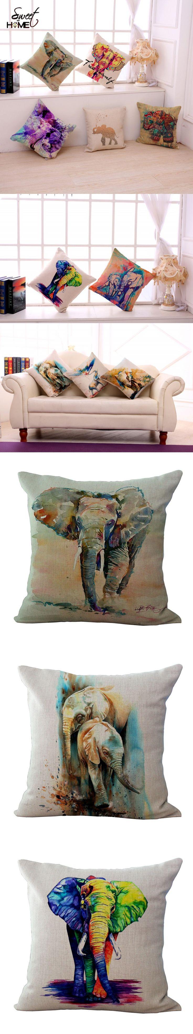 "Square 18"" Colorful Elephant Printed Modern Minimalist Cushion For Sofa Home Decorative Pillow Throw Almofadas Cojines $5.99"